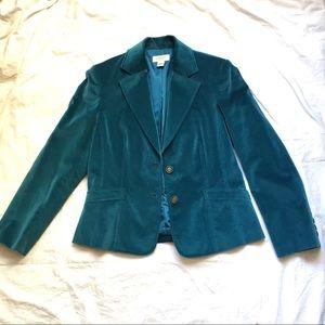 Talbots Turquoise Velvet Blazer Cotton Silk Blend